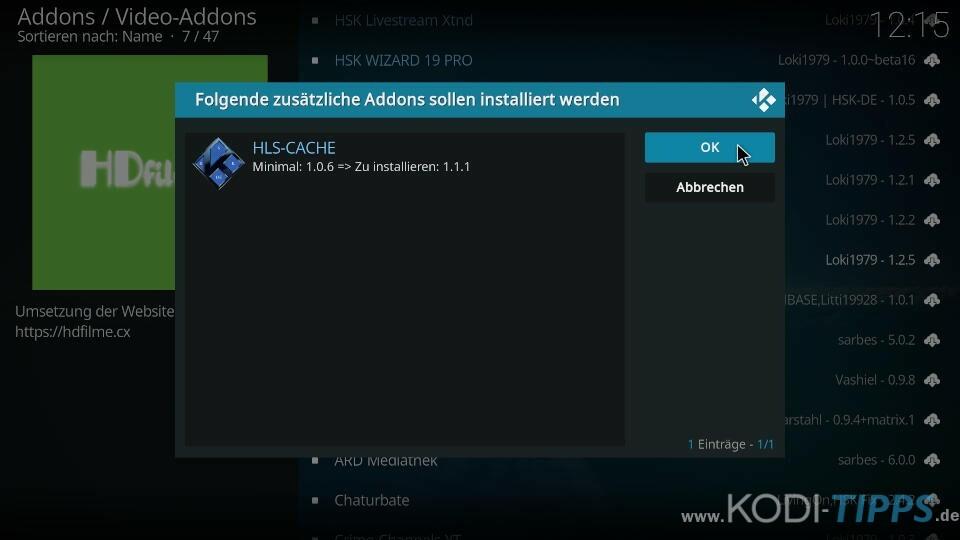 HD-Filme Kodi Addon installieren - Schritt 4
