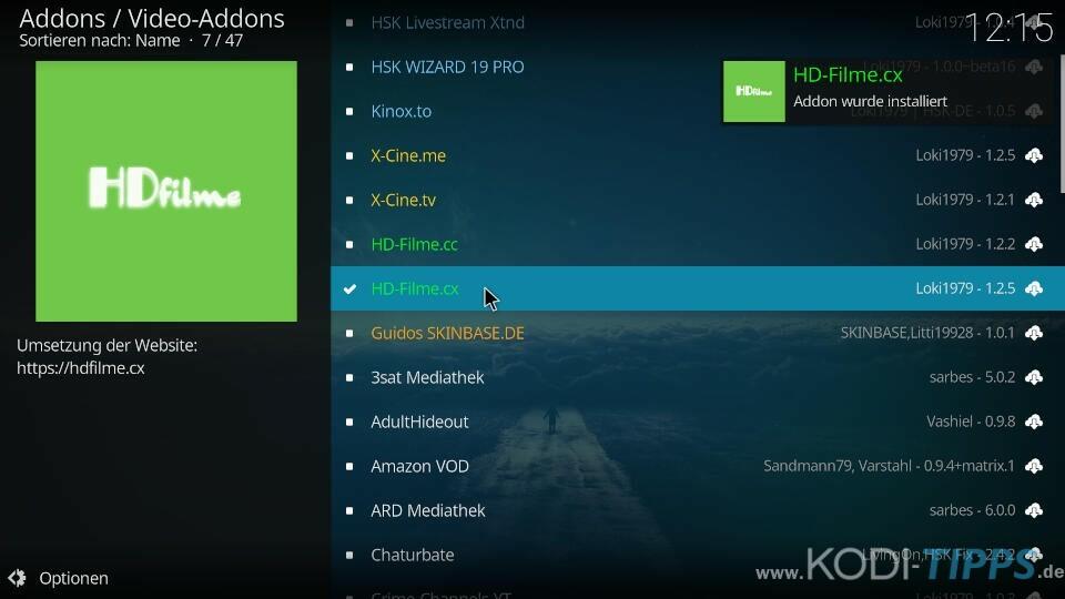 HD-Filme Kodi Addon installieren - Schritt 5