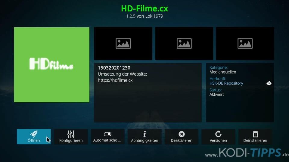 HD-Filme Kodi Addon installieren - Schritt 6