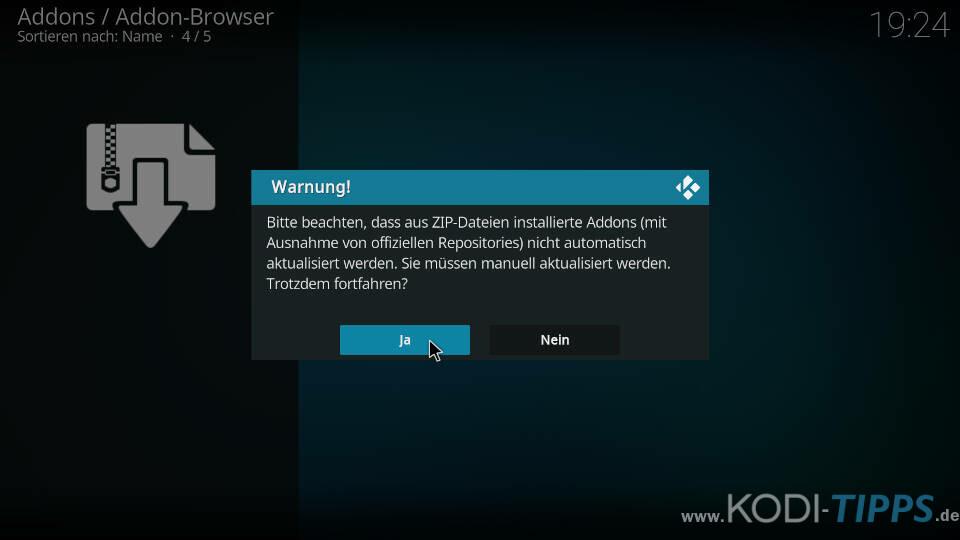 Kodi Aus ZIP-Dateien installierte Addons Meldung