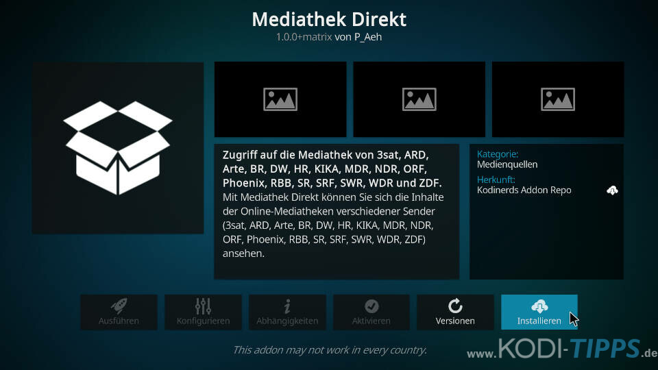 Mediathek Direkt Kodi Addon installieren - Schritt 3