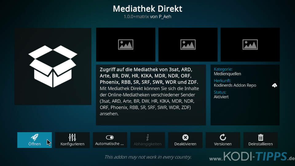 Mediathek Direkt Kodi Addon installieren - Schritt 5