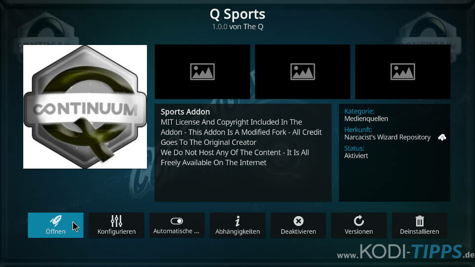 Q Sports Kodi Addon installieren - Schritt 11