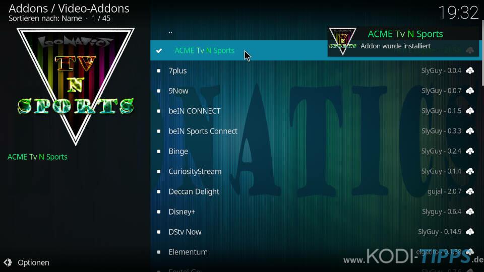 ACME TV N Sports Kodi Addon installieren - Schritt 10