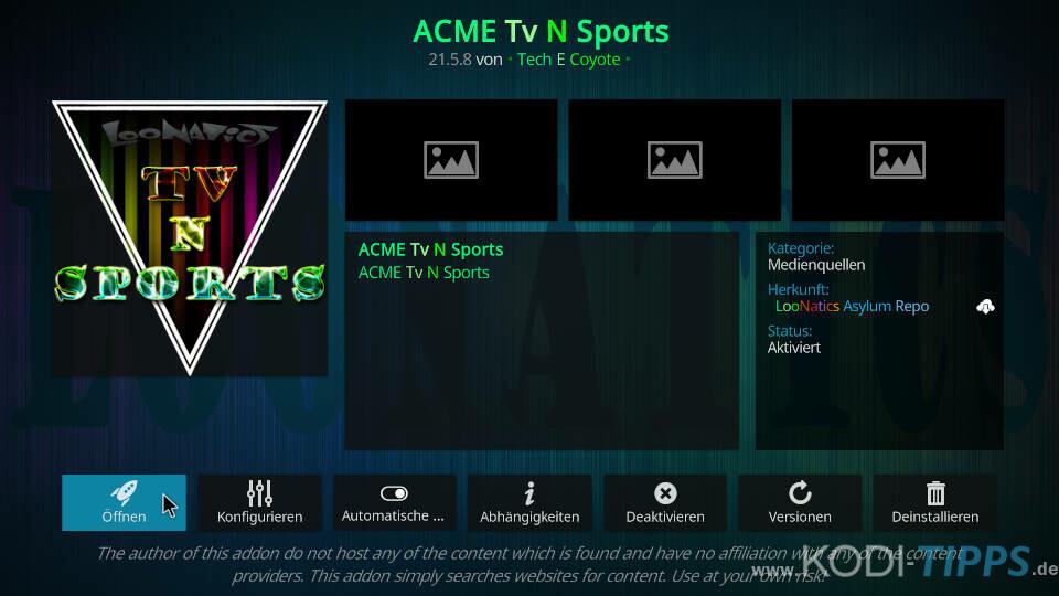 ACME TV N Sports Kodi Addon installieren - Schritt 11