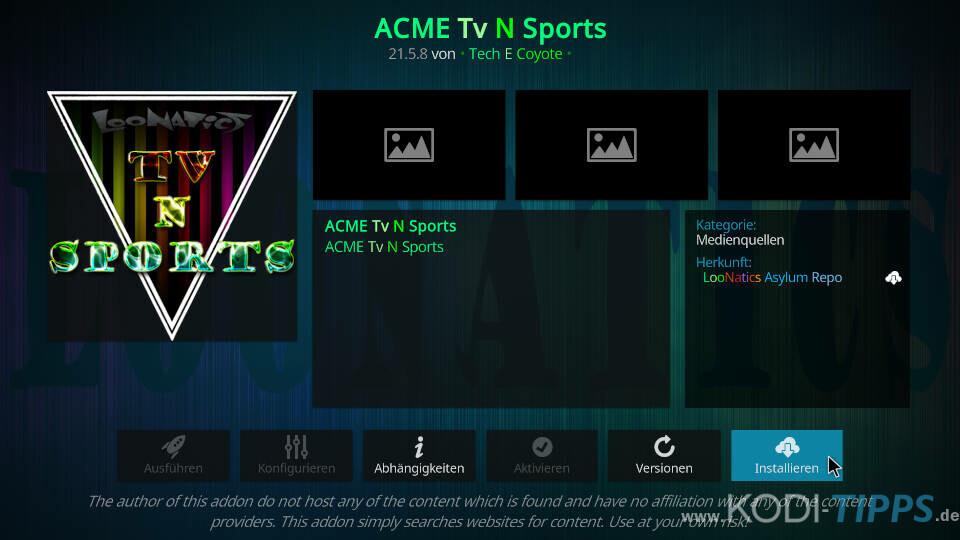 ACME TV N Sports Kodi Addon installieren - Schritt 8