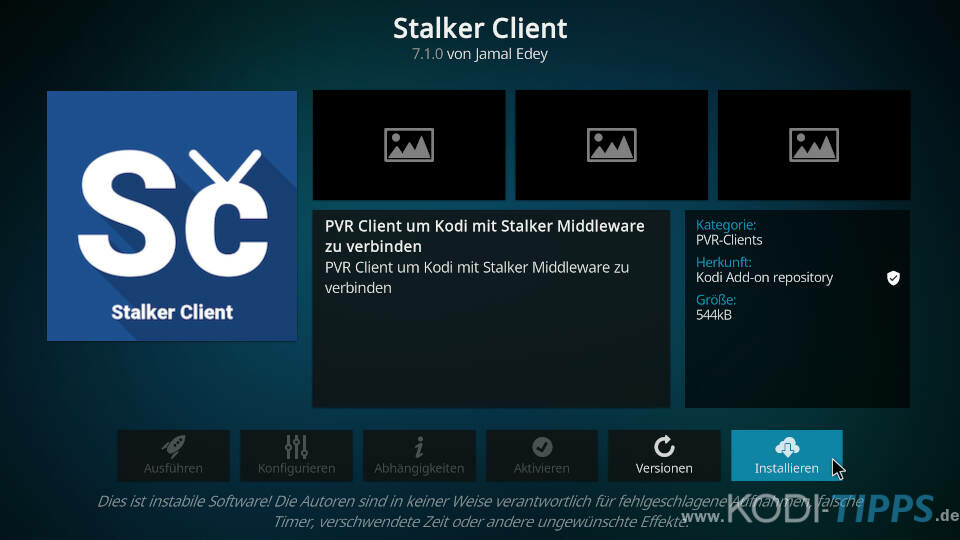 Stalker Client Kodi Addon installieren - Schritt 3