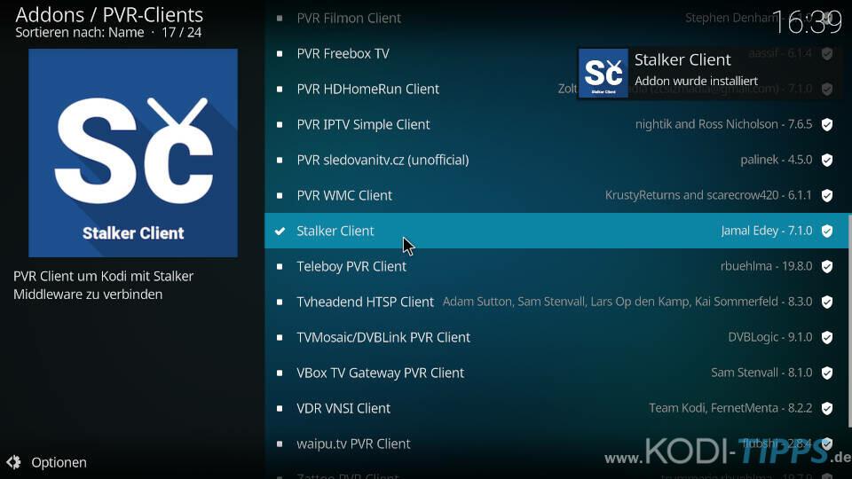 Stalker Client Kodi Addon installieren - Schritt 4