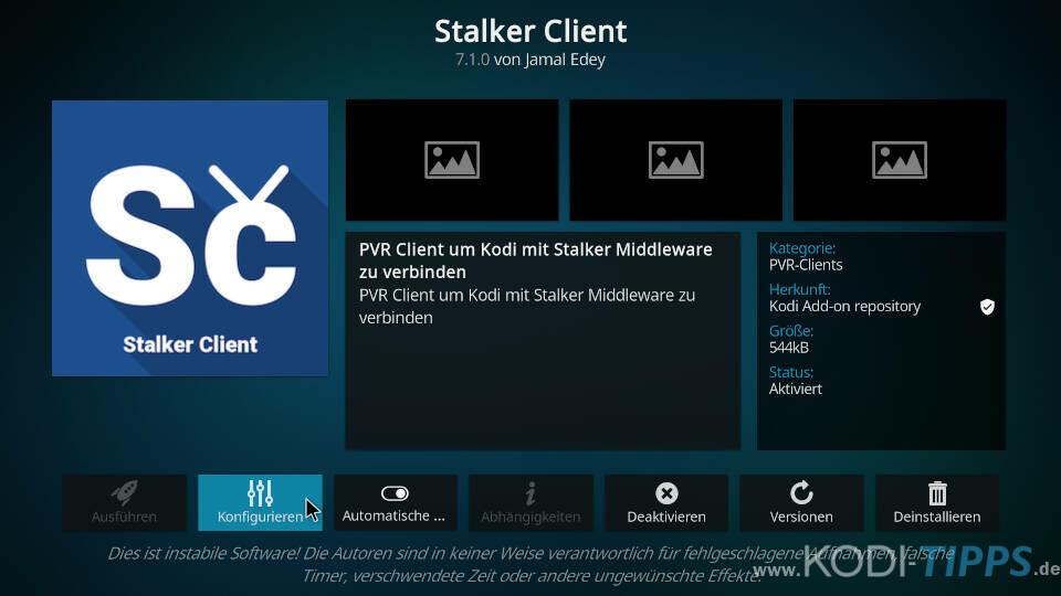Stalker Client Kodi Addon einrichten - Schritt 1