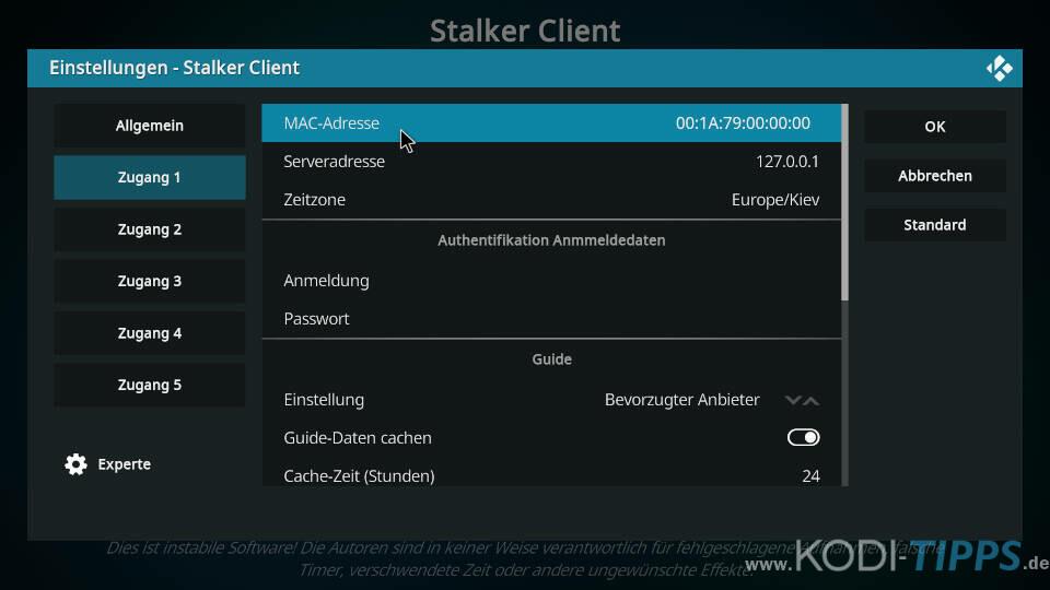 Stalker Client Kodi Addon einrichten - Schritt 2