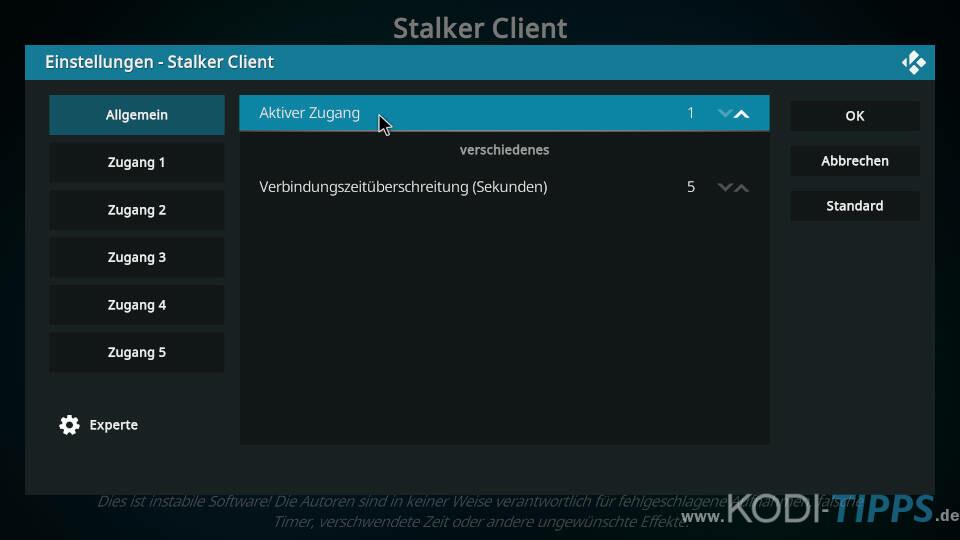 Stalker Client Kodi Addon einrichten - Schritt 3