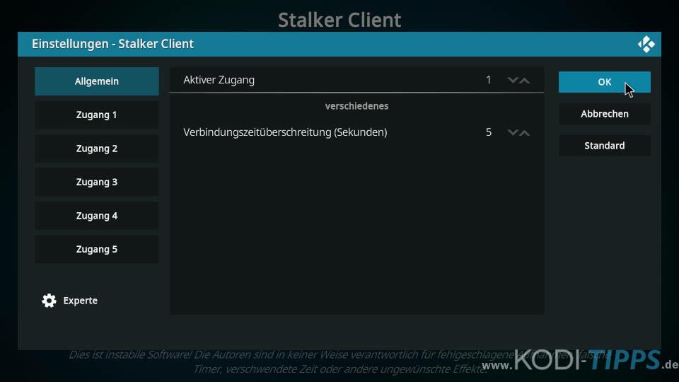 Stalker Client Kodi Addon einrichten - Schritt 4
