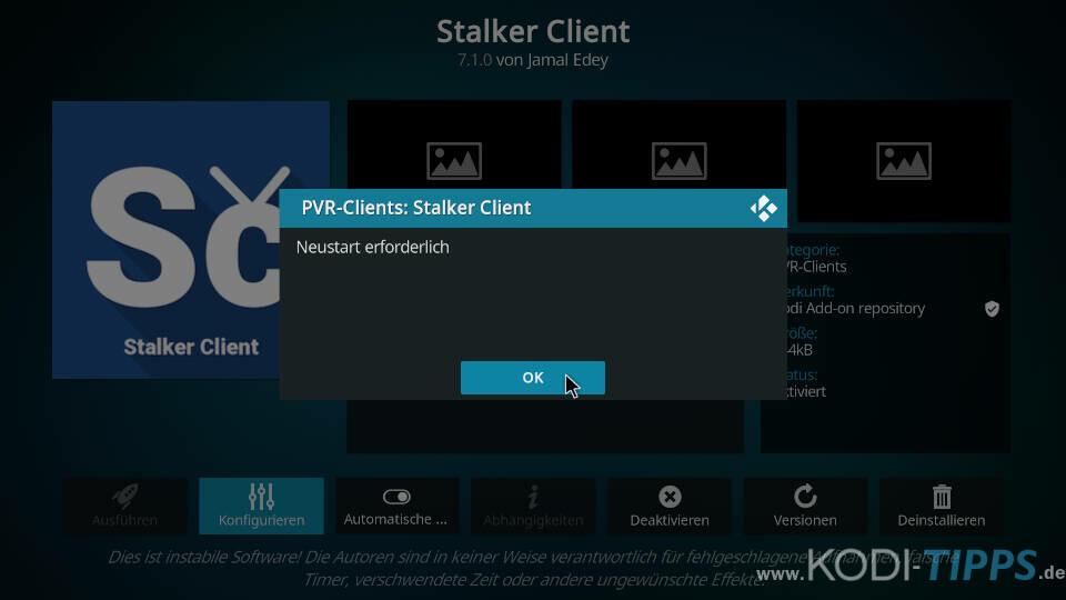 Stalker Client Kodi Addon einrichten - Schritt 5