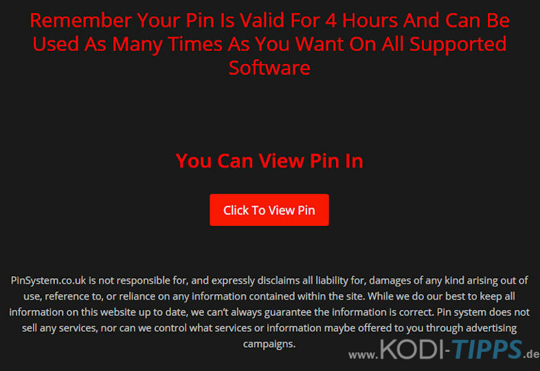 Pin System Website für Kodi Addons aus dem Stream Army Repo