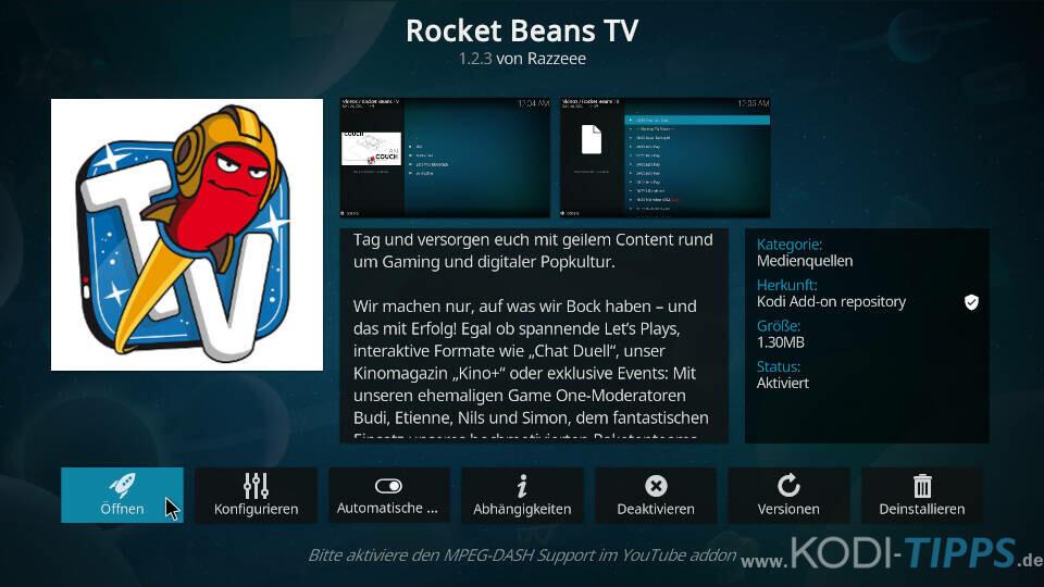 Rocket Beans TV Kodi Addon installieren - Schritt 10