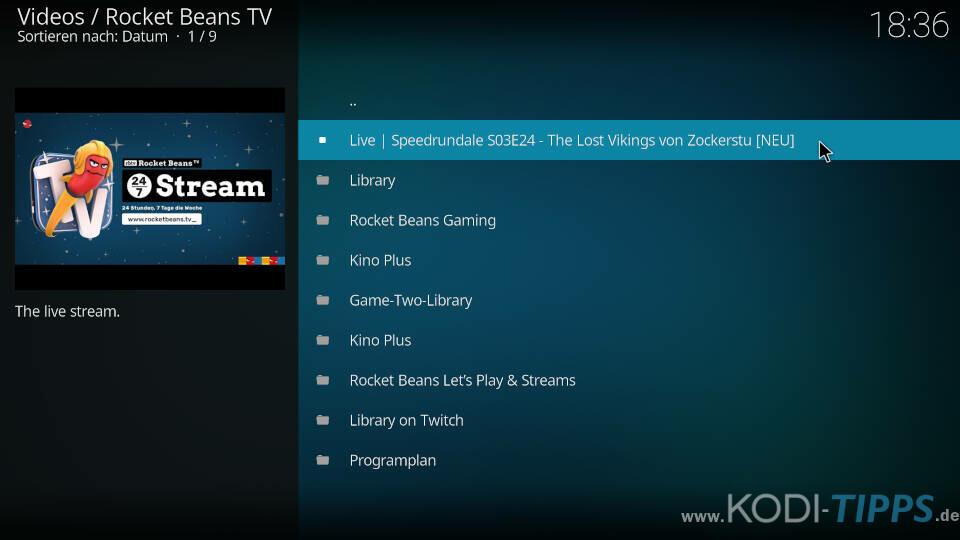 Rocket Beans TV Kodi Addon installieren - Schritt 11