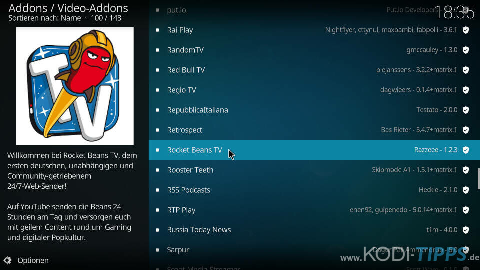 Rocket Beans TV Kodi Addon installieren - Schritt 2