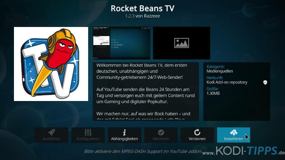 Rocket Beans TV Kodi Addon installieren - Schritt 3