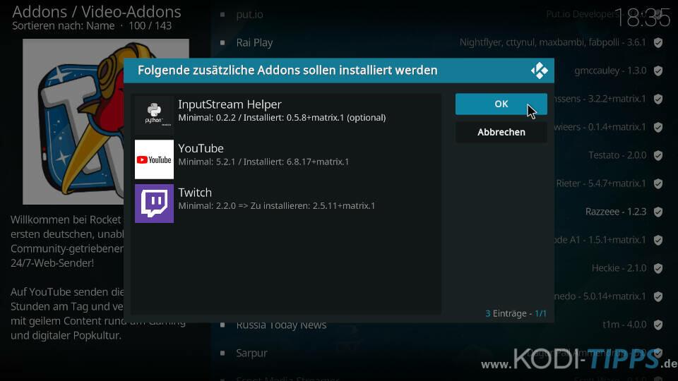 Rocket Beans TV Kodi Addon installieren - Schritt 4