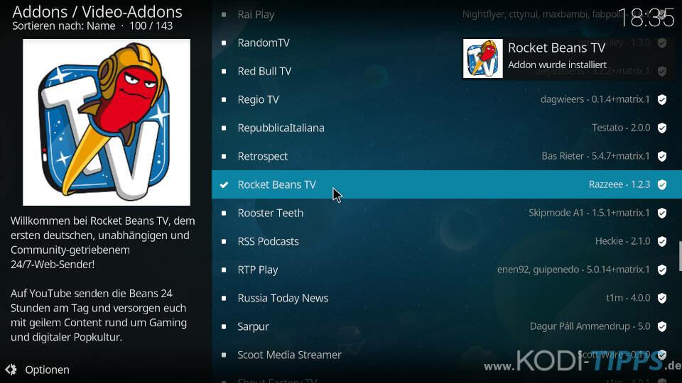 Rocket Beans TV Kodi Addon installieren - Schritt 5