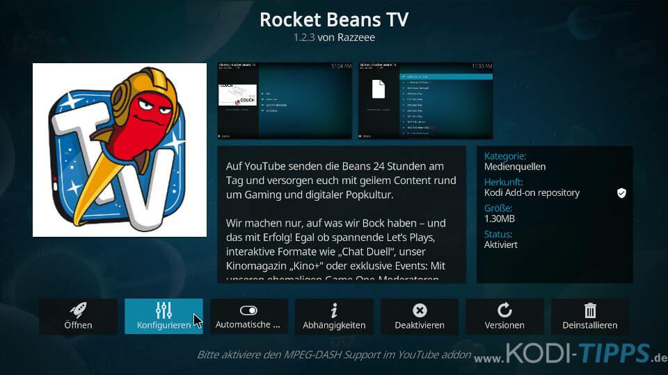 Rocket Beans TV Kodi Addon installieren - Schritt 6