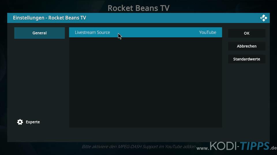 Rocket Beans TV Kodi Addon installieren - Schritt 7