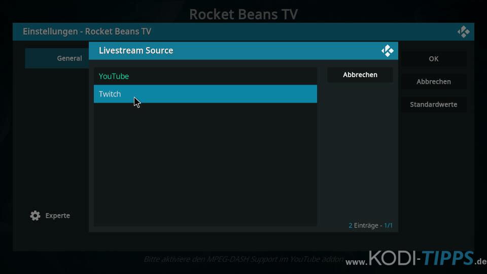 Rocket Beans TV Kodi Addon installieren - Schritt 8