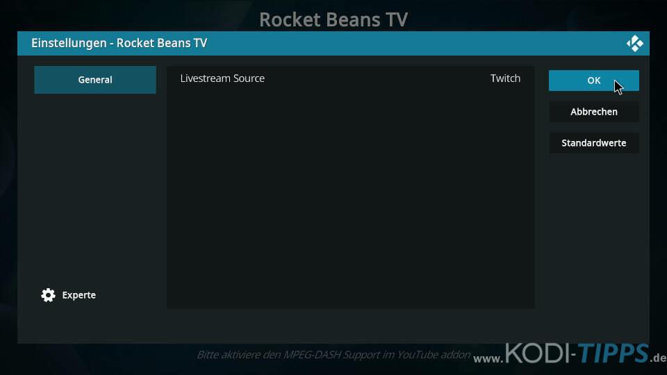 Rocket Beans TV Kodi Addon installieren - Schritt 9