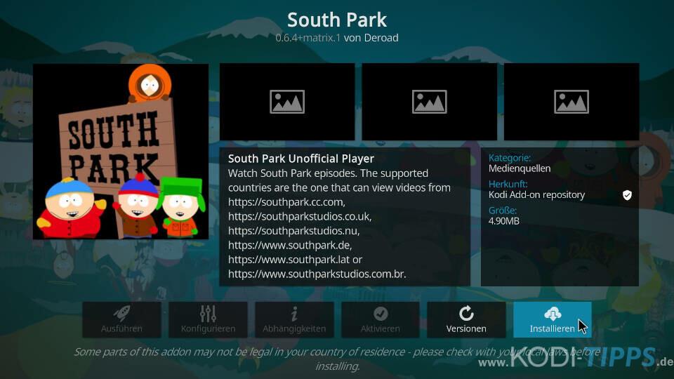 South Park Kodi Addon installieren - Schritt 3