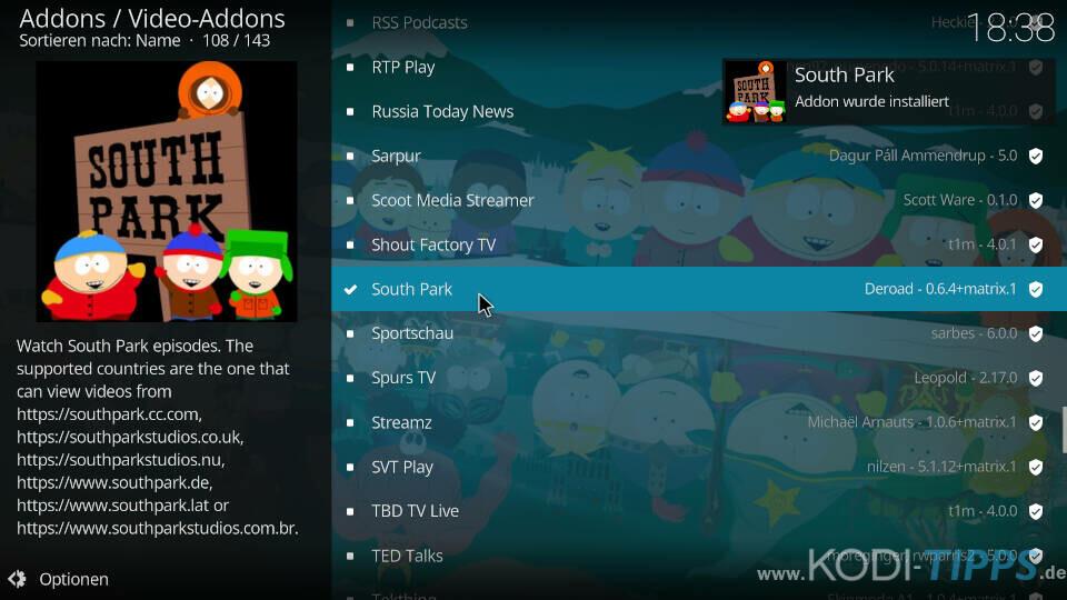 South Park Kodi Addon installieren - Schritt 4