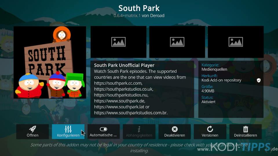 South Park Kodi Addon installieren - Schritt 5