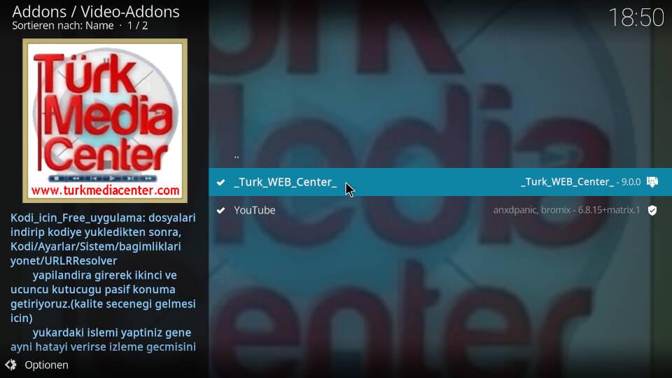 Turk Web Center Kodi Addon installieren - Schritt 7