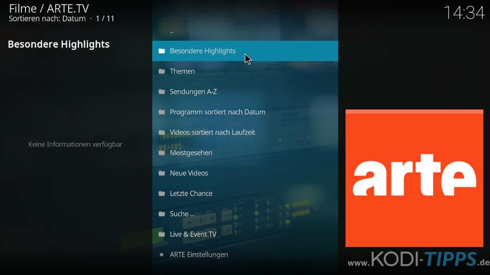 ARTE Kodi Addon installieren - Schritt 6