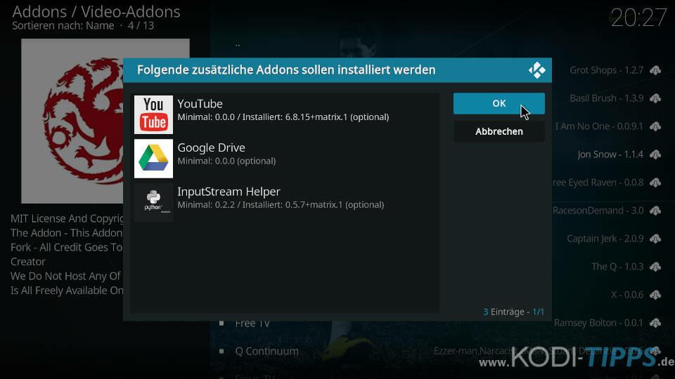 Dracarys Kodi Addon installieren - Schritt 9