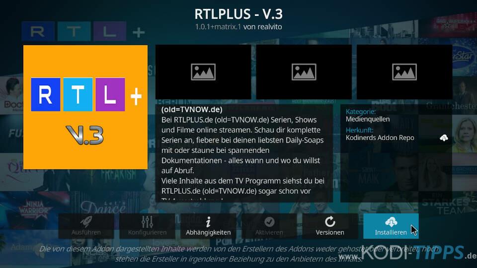 RTLPlus Kodi Addon installieren - Schritt 3