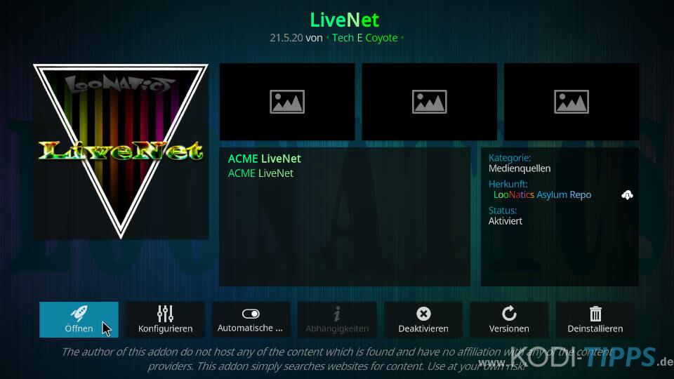 LiveNet Kodi Addon installieren - Schritt 9