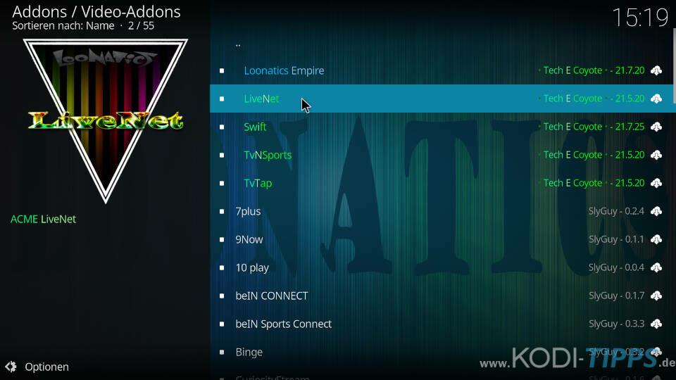 LiveNet Kodi Addon installieren - Schritt 6
