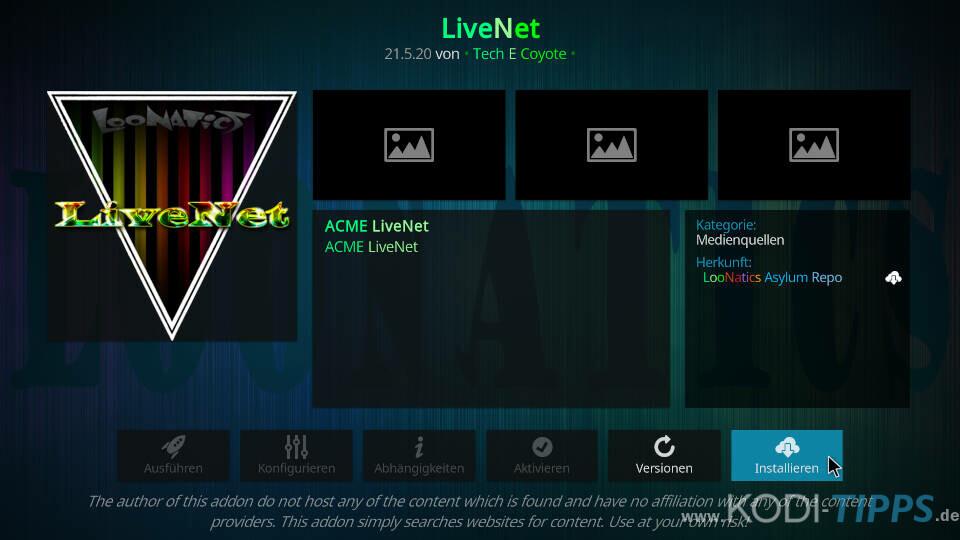 LiveNet Kodi Addon installieren - Schritt 7