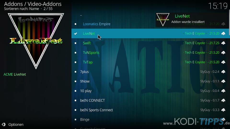 LiveNet Kodi Addon installieren - Schritt 8