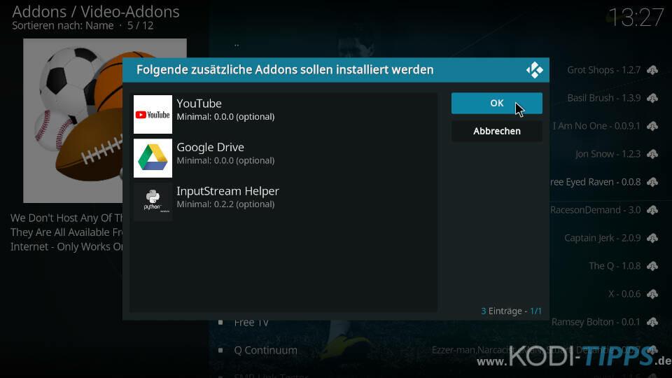 Simple Sports Kodi Addon installieren - Schritt 9