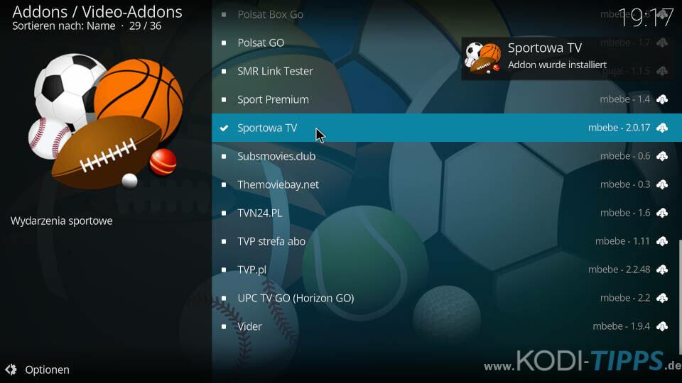 Sportowa TV Kodi Addon installieren - Schritt 10