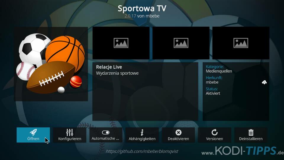 Sportowa TV Kodi Addon installieren - Schritt 15