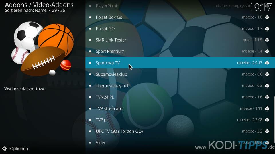 Sportowa TV Kodi Addon installieren - Schritt 7