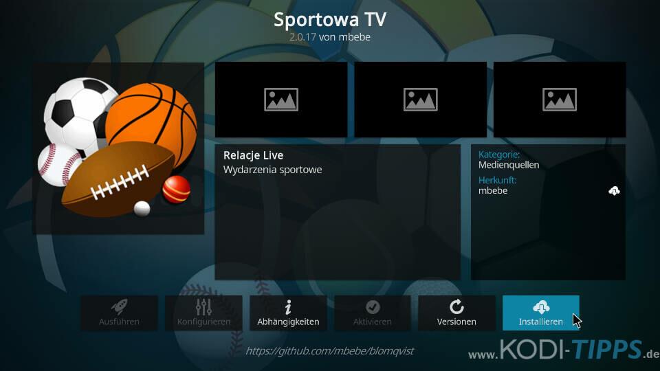 Sportowa TV Kodi Addon installieren - Schritt 8