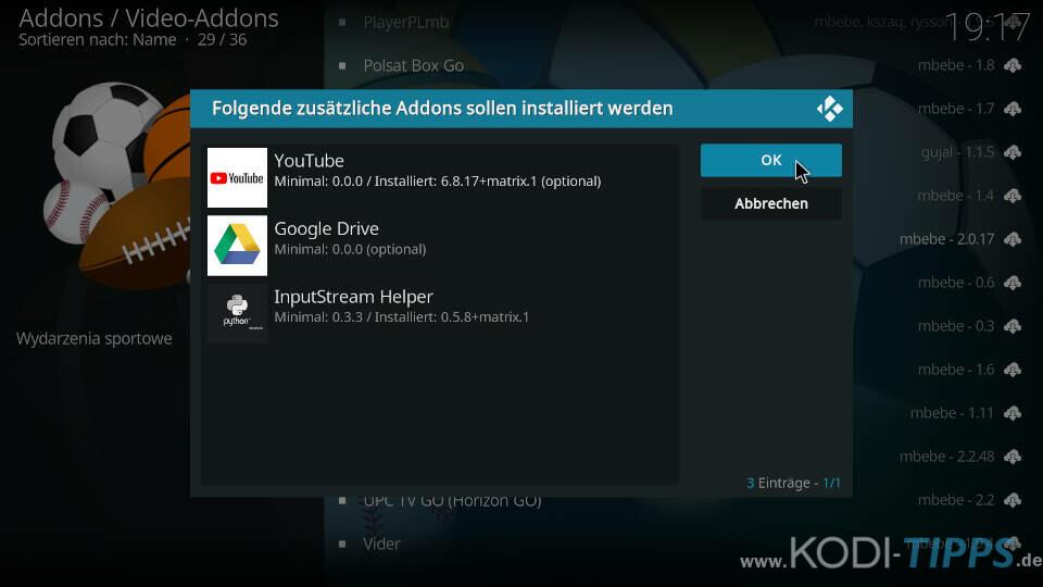 Sportowa TV Kodi Addon installieren - Schritt 9