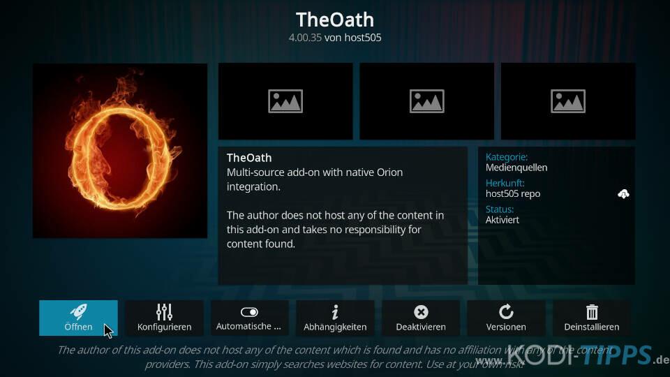 The Oath Kodi Addon installieren - Schritt 11