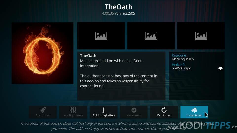 The Oath Kodi Addon installieren - Schritt 8