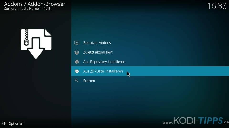 Kodi Addon-Browser - Aus ZIP-Datei installieren