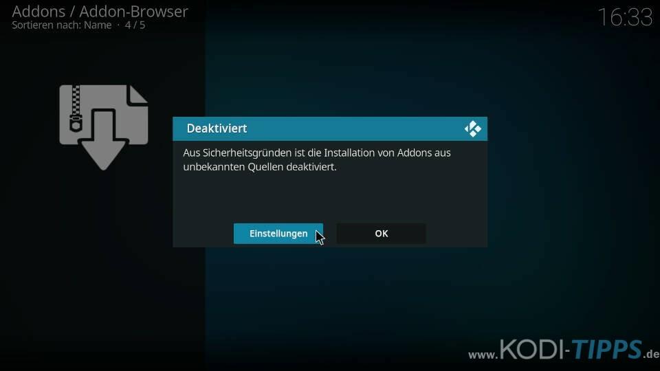 Kodi Meldung Installation Addons aus unbekannten Quellen deaktiviert
