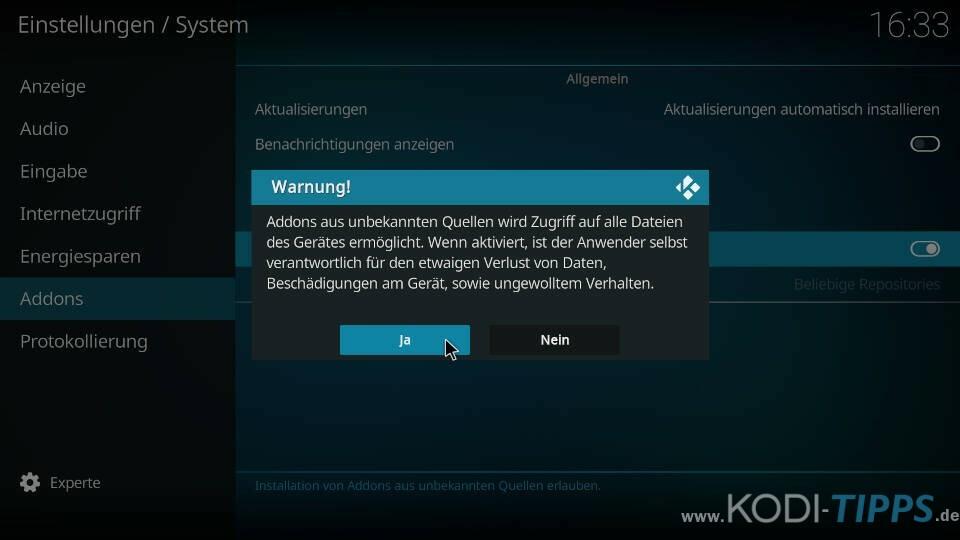 Kodi Addon Installation aus Unbekannte Quellen aktivieren - Warnung bestätigen